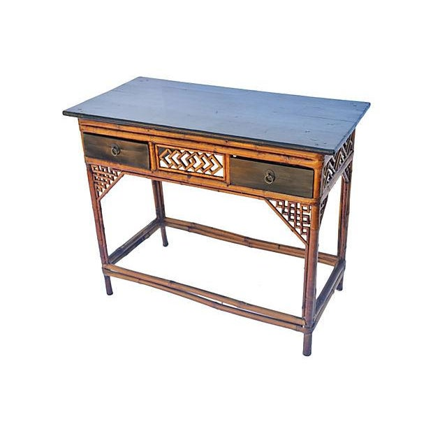 Vintage Bamboo and Wood Desk - Image 1 of 3