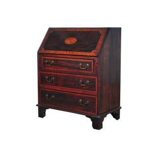 19th C. English Inlaid Mahogany Drop Desk