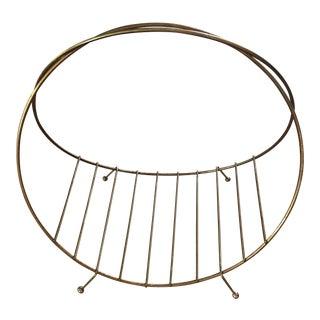 Mid-Century Circular Brass Magazine Rack
