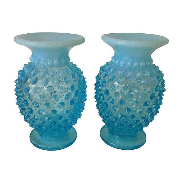 Turquoise Glass Vases - A Pair - Image 1 of 3