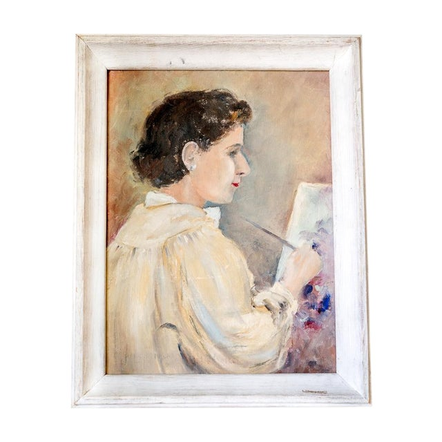 1940s Woman Oil Painter Portrait on Canvas - Image 1 of 6