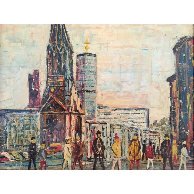 Midcentury Berlin Street Oil Painting - Image 3 of 5