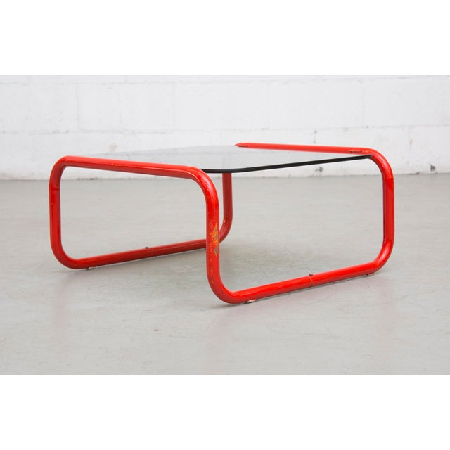 Industrial Red Metal Glass Coffee Or Side Table Chairish