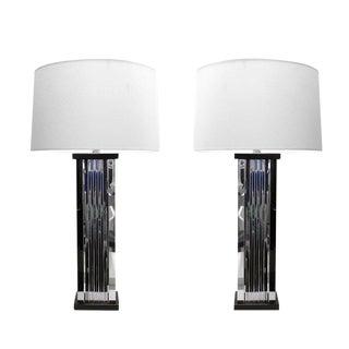 Pair of Chrome Skyscraper Table Lamps