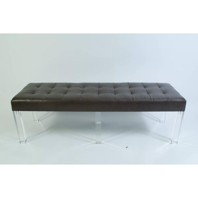 Lucite Prism Bench in Gunmetal Leather with Blind Tufting by Montage - Image 2 of 8