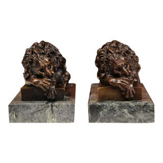 19th Century French Bronze Lions on Marble Bases Signed J. Moigniez - a Pair
