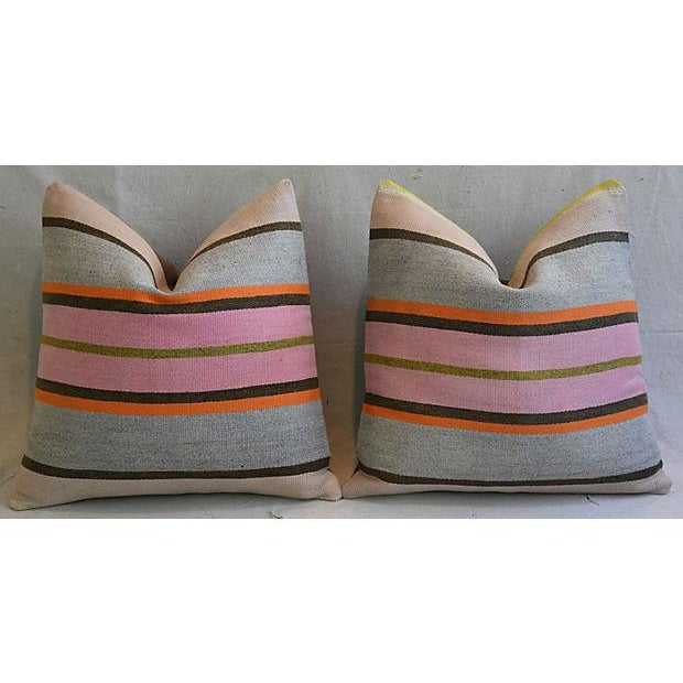 """20"""" Custom Tailored Anatolian Turkish Kilim Wool Feather/Down Pillows - a Pair - Image 5 of 11"""