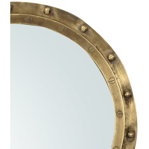 Industrial Brass Rivet Framed Port Hole Mirror - Image 2 of 2