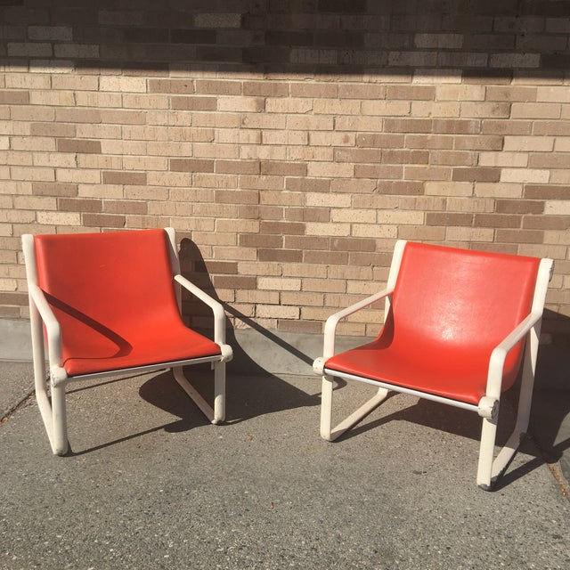 Knoll Iconic Orange Shell Lounge Chairs - A Pair - Image 4 of 8