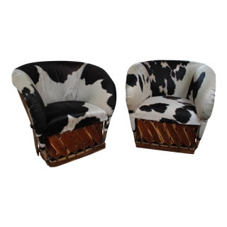 Black & White Cowhide Chairs - A Pair