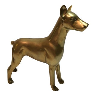 Vintage Solid Brass Doberman Dog Figurine