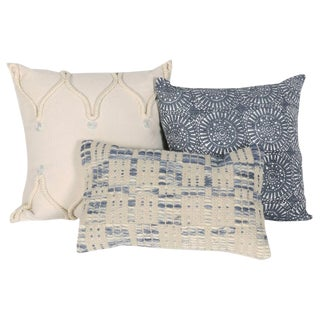Blue & White Designer Pillows - Set of 3