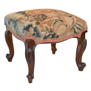 Continental Carved Stool with Aubusson