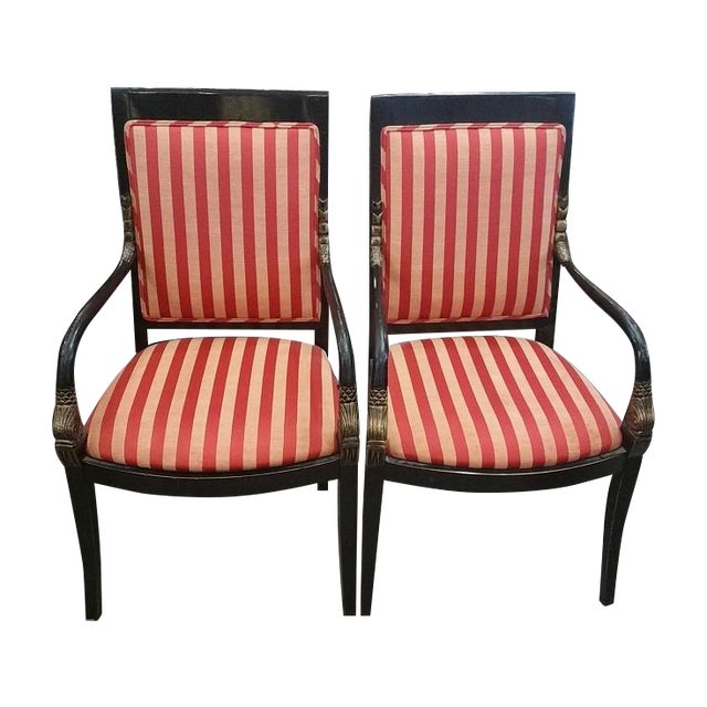 Red And Gold Striped Fabric Armchairs - Pair | Chairish