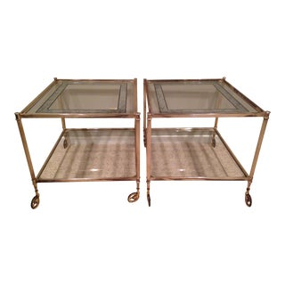 Vintage Silver & Glass Tables - A Pair