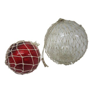 Glass Netted Fishing Floats - A Pair