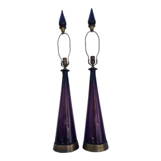 1950's Italian Purple Murano Glass Table Lamps - A Pair