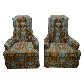 Turquoise & Brown Ikat Armchairs - A Pair