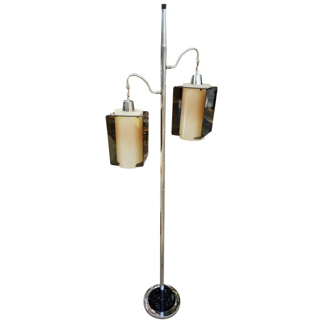 Image of Chrome Pole With Hanging Lantern Floor