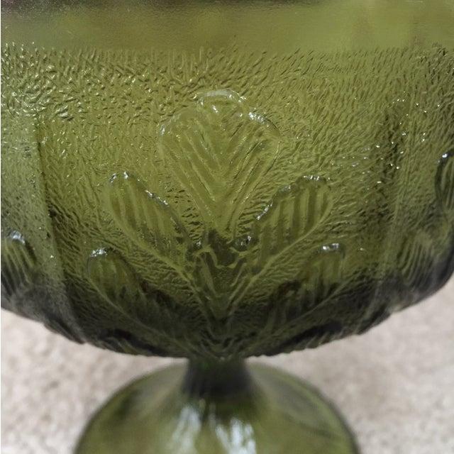 Vintage 1978 Green Glass Pedestal Dish - Image 3 of 6