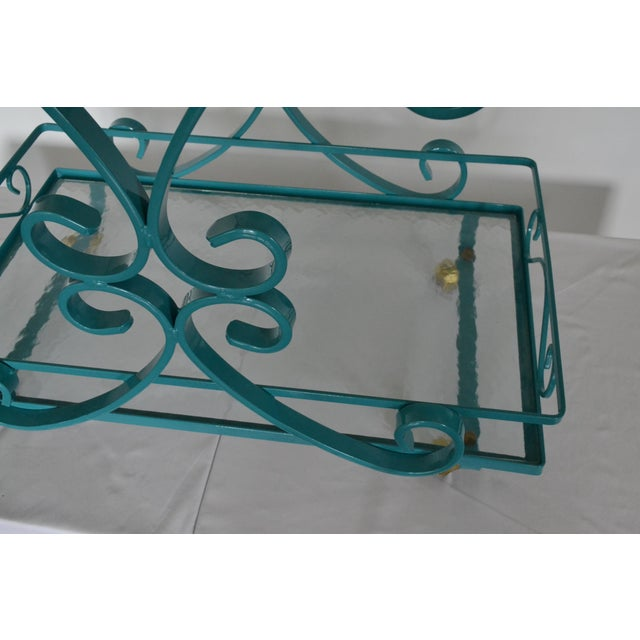 Vintage Wrought Iron & Glass Restored Teal Bar Cart - Image 4 of 5