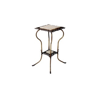 Antique Brass Table With Marble Top