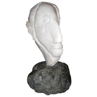 Strong Marble Sculpture of a Man Head