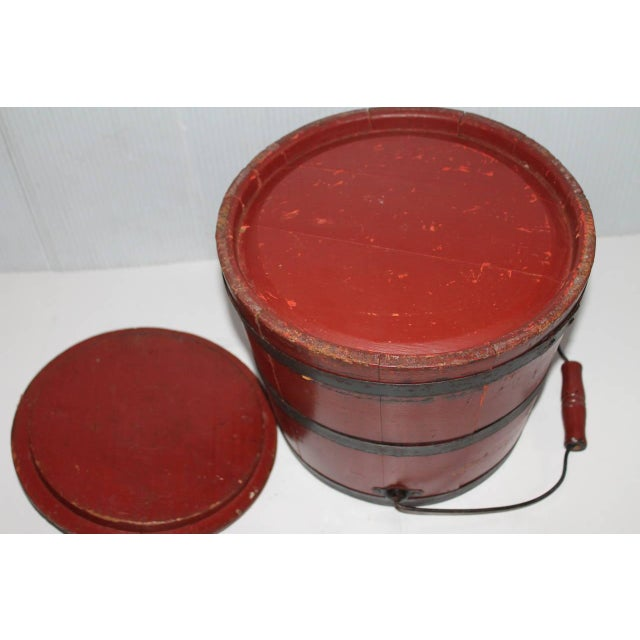 19th Century Original Brick Red Shaker Style Bucket with Handle - Image 4 of 4