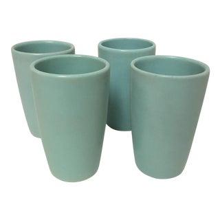 Mid Century Aqua Pottery Tumblers -Set of 4