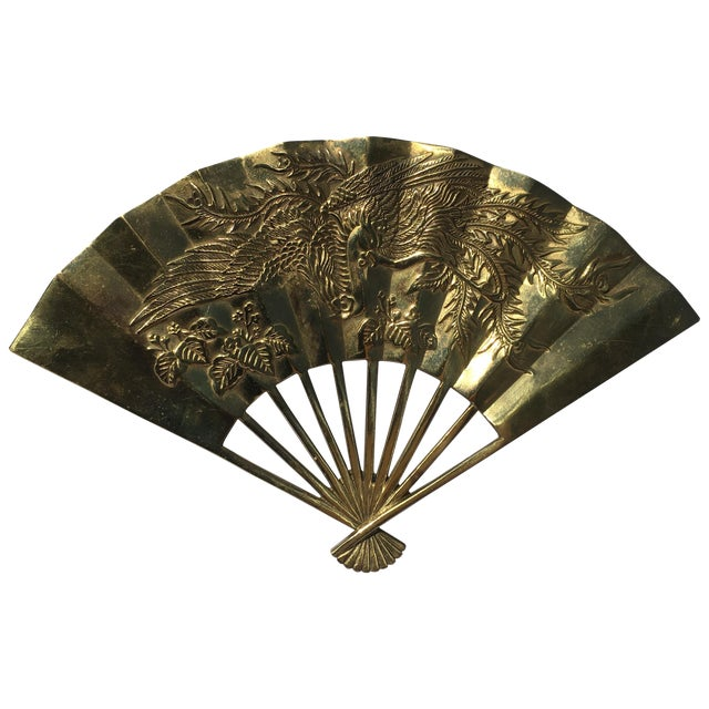 Vintage Brass Chinoiserie Wall Hanging Fan Art - Image 1 of 8