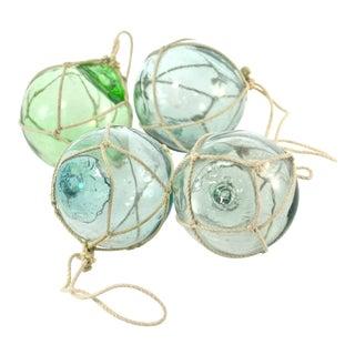 Aqua Japanese Blown Glass Net Float Ornaments - Set of 4