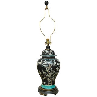 Paul Hanson Chinese Famille Noir Ginger Jar Lamp