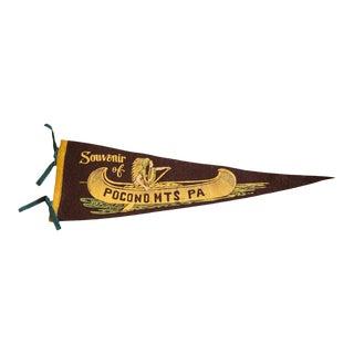 1940s Fantastic Pocono Mountains PA Native American In Canoe Felt Flag