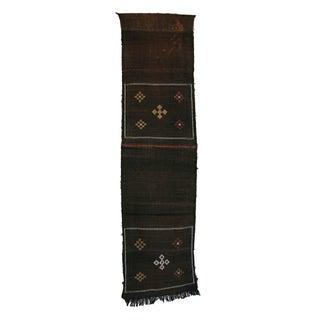 """Black Vintage Moroccan Cactus Silk Rug - 1'10"""" X 7'1"""""""