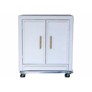 Faux-Bamboo White-Painted Cabinet