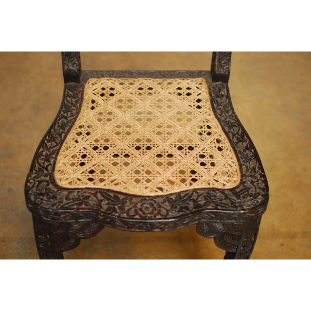 Anglo Indian Carved Rosewood Desk Chair - Image 3 of 7