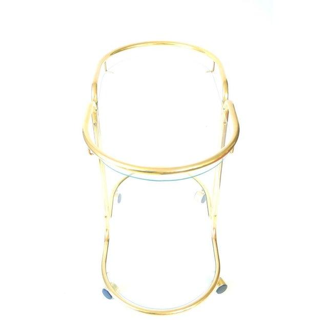Vintage Glass & Brass Oval Bar Cart - Image 4 of 5