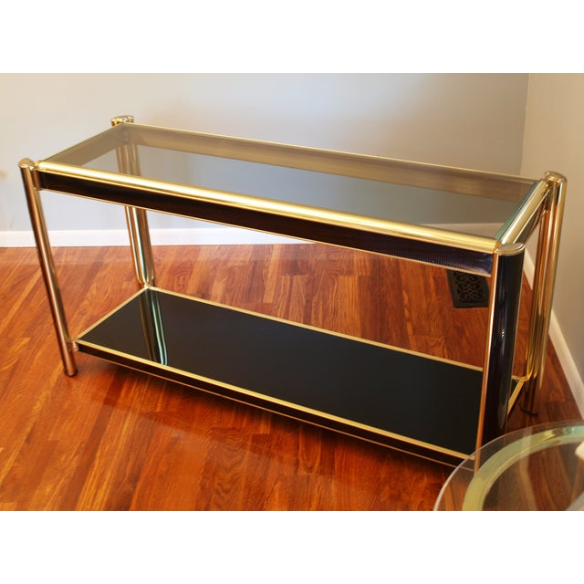 Image of Black Sequin Wrapped Gold Console Table