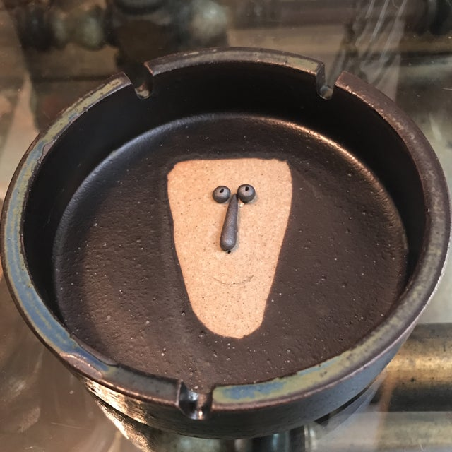 Japanese Stoneware Face Ashtrays - A Pair - Image 8 of 9