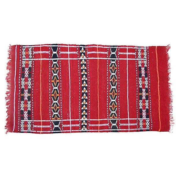 "Handwoven Moroccan Kilim Rug - 4' x 2'4"" - Image 1 of 2"