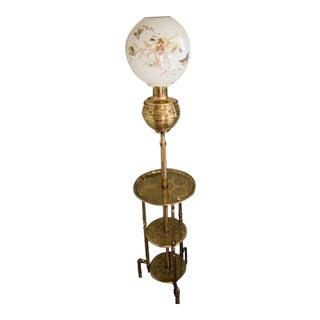 Antique Bradley Hubbard Chinoiserie Brass Triple Shelf Floor Oil Lamp