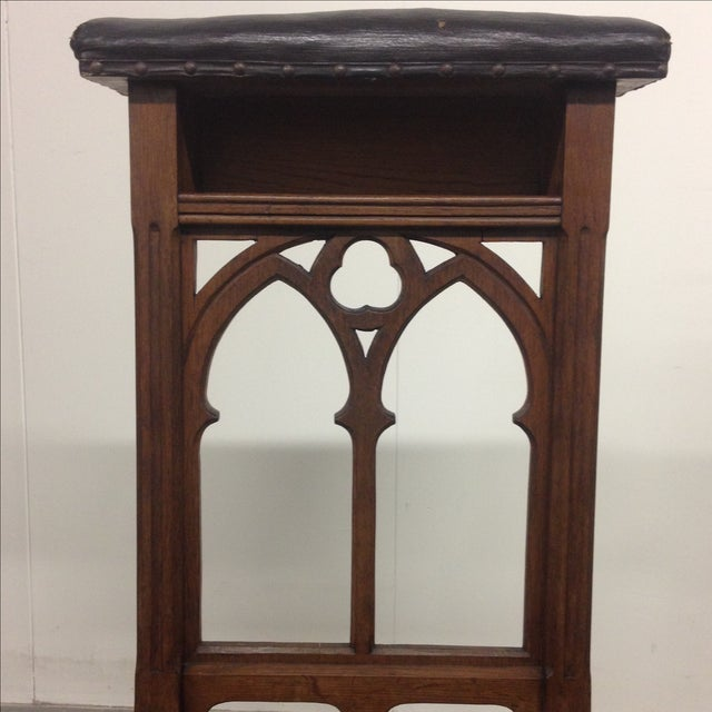 Image of Antique Prie-Dieu Gothic Leather Prayer Chair