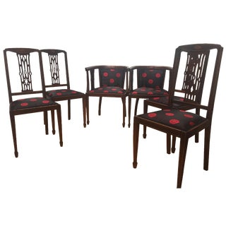 Antique English Mahogany Dining Chairs - Set of 6