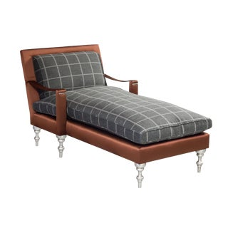 "Truex American Furniture Plaid and Leather ""Pauline Chaise"""