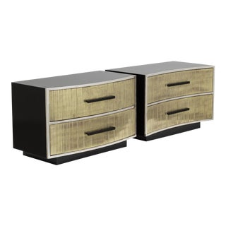 A Unique Pair of Goldleafed Detailed Two Drawer Side Cabinets
