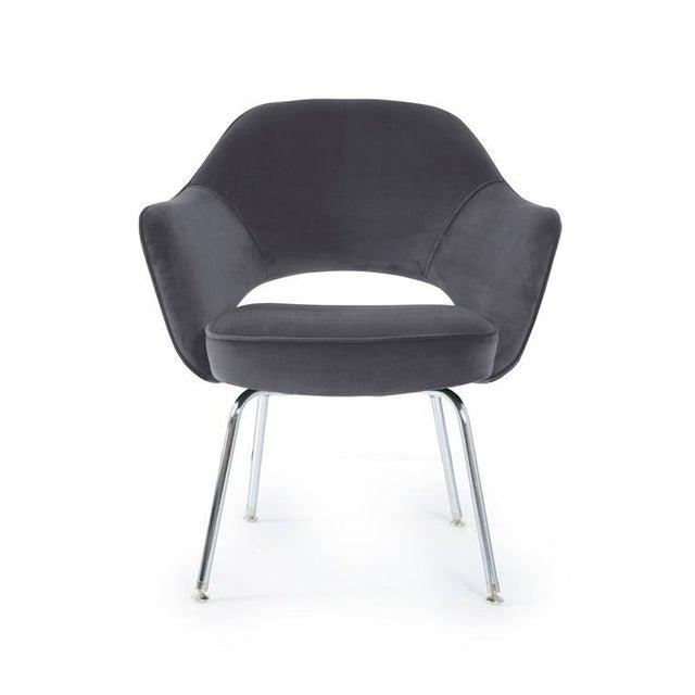 Saarinen Executive Armchairs in Gunmetal Grey Velvet, Set of Six - Image 2 of 4