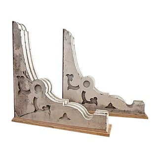 Decorative White Wooden Corbels - A Pair