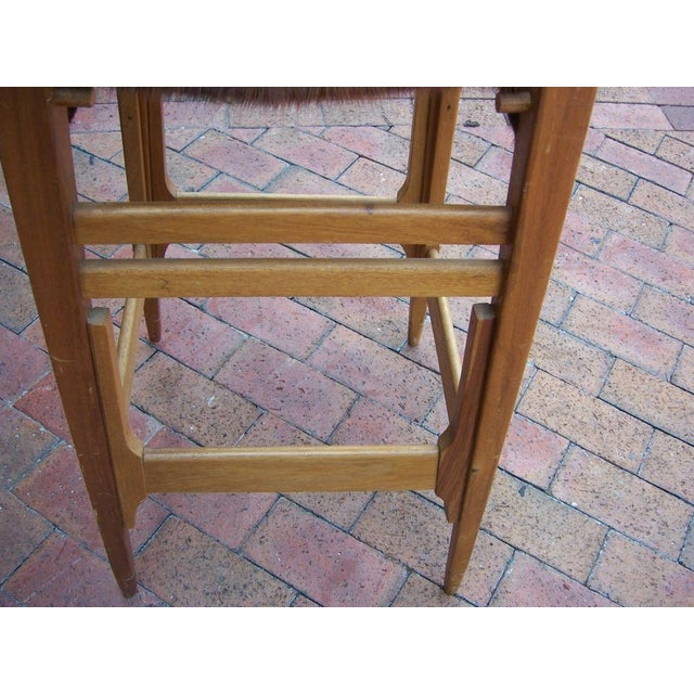 Pair of Architectural Frame Cowhide and Wood Barstools - Image 4 of 5