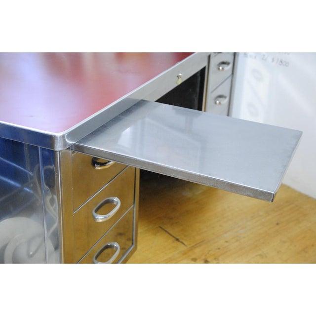 1940's ArtMetal Polished Steel Desk - Image 3 of 7