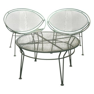 """Powder Coated in Blue Pair of Salterini """"Orange Slice"""" Patio Chairs and Table"""